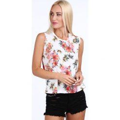 Bluzka w kwiaty kremowa / czerwony 22737. Białe bluzki damskie Fasardi, l, w kwiaty. Za 59,00 zł.