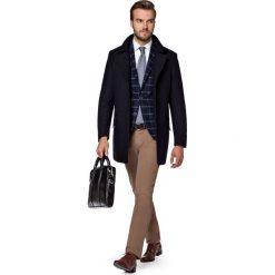 Płaszcz Granatowy Andro. Niebieskie płaszcze na zamek męskie marki LANCERTO, na jesień, m, z bawełny, eleganckie. W wyprzedaży za 499,90 zł.