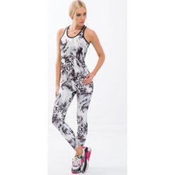 Spodnie damskie: Białe legginsy w czarne wzory H0060
