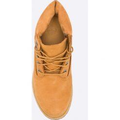 Timberland - Botki Premium Boot - W. Pomarańczowe buty zimowe damskie Timberland, z gumy, z okrągłym noskiem, na obcasie, na sznurówki. W wyprzedaży za 569,90 zł.