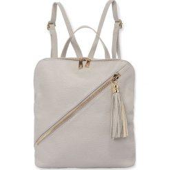 """Plecaki damskie: Skórzany plecak """"Mia"""" w kolorze jasnoszarym – 27 x 31 x 11 cm"""