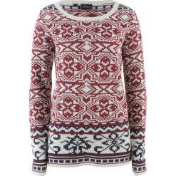 Sweter bonprix biel wełny - czerwony klonowy wzorzysty. Białe swetry klasyczne damskie bonprix, z wełny. Za 74,99 zł.