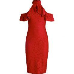 Sukienki: Missguided HALTERNECK FRILL DETAIL BODYCON MIDI DRESS  Sukienka koktajlowa red
