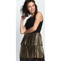 Czarno-Złota Sukienka One Last Time. Czarne sukienki marki Born2be, s, wizytowe. Za 109,99 zł.