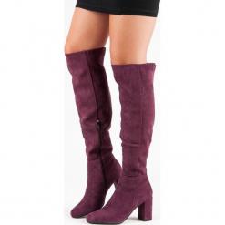 BORDOWE KOZAKI NA OBCASIE. Czerwone buty zimowe damskie FILIPPO, na obcasie. Za 177,90 zł.