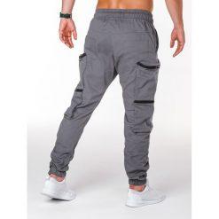 SPODNIE MĘSKIE JOGGERY P706 - SZARE. Czarne joggery męskie marki Ombre Clothing, m, z bawełny, z kapturem. Za 99,00 zł.