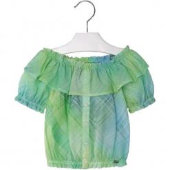 Bluzka w kolorze zielonym. Zielone bluzki dziewczęce marki Mayoral, z kołnierzem typu carmen. W wyprzedaży za 64,95 zł.