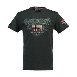"""Koszulka """"Jamelo"""" w kolorze antracytowym. Szare t-shirty chłopięce z nadrukiem Geographical Norway, m, z okrągłym kołnierzem. W wyprzedaży za 78,95 zł."""