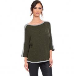 """Sweter """"Cecile"""" w kolorze khaki. Brązowe swetry klasyczne damskie marki Cosy Winter, s, ze splotem, z okrągłym kołnierzem. W wyprzedaży za 159,95 zł."""