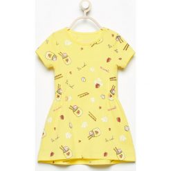 Odzież dziecięca: Bawełniana sukienka z nadrukiem - Żółty