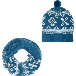 Komplet 2-częściowy: szalik i czapka bonprix ciemnoniebiesko-kremowy. Niebieskie czapki zimowe damskie bonprix. Za 59,99 zł.