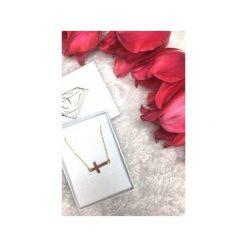 Naszyjniki damskie: Srebrny pozłacany naszyjnik krzyżyk mały