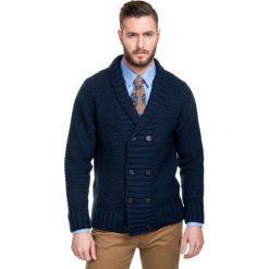 Sweter DONATO 14-102CS. Białe swetry rozpinane męskie Giacomo Conti, na jesień, m, z wełny, biznesowe, z kontrastowym kołnierzykiem. Za 299,00 zł.