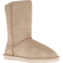 """Buty zimowe damskie: Skórzane kozaki """"Ethel"""" w kolorze piaskowym"""