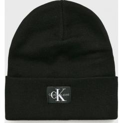Calvin Klein Jeans - Czapka. Czarne czapki zimowe damskie marki Calvin Klein Jeans, na zimę, z bawełny. Za 179,90 zł.