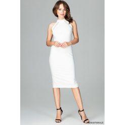 Sukienka K492 Ecru. Szare sukienki hiszpanki Pakamera, ze stójką, midi, dopasowane. Za 179,00 zł.