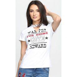 Bluzki asymetryczne: Biały T-shirt You Say No