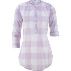 Tuniki damskie: Tunika koszulowa w kratę bonprix fiołkowy bez – biały w kratę