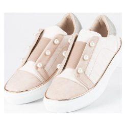 Buty dziecięce: Trampki z perełkami AMERICAN CLUB odcienie brązu i beżu