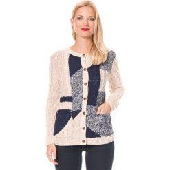 Sweter rozpinany w kolorze beżowo-granatowym. Brązowe kardigany damskie marki William de Faye, z kaszmiru. W wyprzedaży za 132,95 zł.
