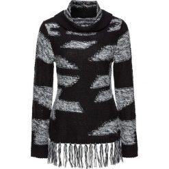 Golfy damskie: Sweter z frędzlami bonprix czarno-jasnoszary w paski