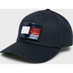 Tommy Hilfiger - Czapka. Czarne czapki z daszkiem damskie TOMMY HILFIGER, z bawełny. Za 229,90 zł.