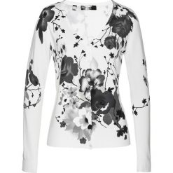 Sweter rozpinany z nadrukiem bonprix biały z nadrukiem. Białe kardigany damskie marki Reserved, l. Za 119,99 zł.