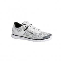 Buty damskie do szybkiego marszu Soft 540 w kolorze marmurkowobiałym. Białe buty do fitnessu damskie marki NEWFEEL, z poliesteru. Za 129,99 zł.