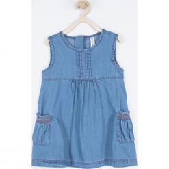 Sukienka. Niebieskie sukienki dziewczęce z falbanami BELLE & CUTE, z bawełny, bez rękawów. Za 69,90 zł.