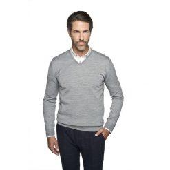 Swetry klasyczne męskie: sweter valero w serek szary