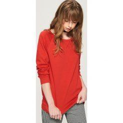 Bluzy damskie: Bluza z raglanowymi rękawami - Pomarańczo