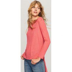 Kardigany damskie: Sweter o asymetrycznej długości – Różowy