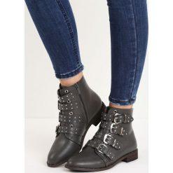 Szare Botki Four Strap. Szare buty zimowe damskie Born2be, na płaskiej podeszwie. Za 99,99 zł.