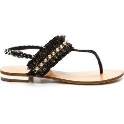Rzymianki damskie: Sandały skórzane na płaskim obcasie, z koralikami, Hila