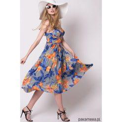 Sukienka gorsetowa BRIDGITE. Szare sukienki letnie Pakamera, w kolorowe wzory, z gorsetem, gorsetowe. Za 790,00 zł.