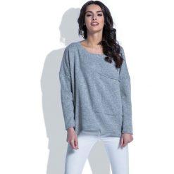 Swetry damskie: Luźny Szary Sweter z Dużą Kieszenią