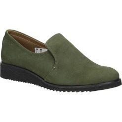 Oliwkowe półbuty skórzane na koturnie Casu 319. Zielone buty ślubne damskie Casu, na koturnie. Za 189,99 zł.