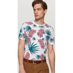 T-shirty męskie z nadrukiem: T-shirt z nadrukiem w liście – Biały