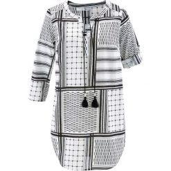 Długa tunika z rękawami 3/4 bonprix czarno-biały wzorzysty. Czarne tuniki damskie z długim rękawem bonprix. Za 89,99 zł.