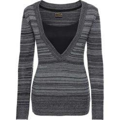 Swetry klasyczne damskie: Sweter dzianinowy bonprix szaro-czarny