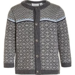 Swetry chłopięce: Name it NITWHOOPIMIX CARDIGAN BABY Kardigan dark grey melange