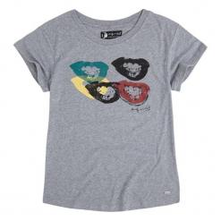 T-shirt w kolorze szarym. Szare t-shirty damskie Pepe Jeans, xs, z aplikacjami, z okrągłym kołnierzem. W wyprzedaży za 89,95 zł.