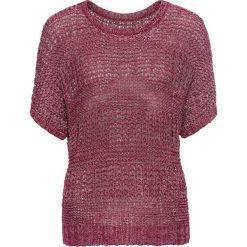 Swetry klasyczne damskie: Sweter z przędzy tasiemkowej, rękawy do łokcia bonprix czerwony rododendron melanż