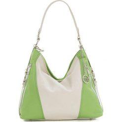 Torebki klasyczne damskie: Skórzana torebka w kolorze beżowo-zielonym – 26 x 35 x 12 cm