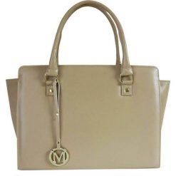 Manzana - Torebka. Brązowe torebki klasyczne damskie Manzana, w paski, z materiału, średnie. W wyprzedaży za 69,90 zł.