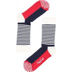 Skarpetki damskie: Granatowo-Czerwone Skarpetki Half Stripe Happy Socks