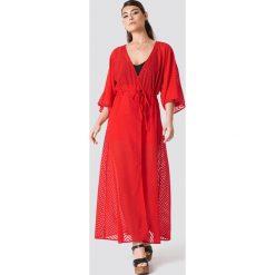 NA-KD Boho Sukienka-płaszcz z szyfonu - Red. Niebieskie sukienki boho marki NA-KD Boho, na imprezę, w koronkowe wzory, z koronki, na ramiączkach, mini. Za 100,95 zł.