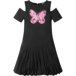 Sukienki dziewczęce: Sukienka z dżerseju z wycięciami i cekinami bonprix czarny