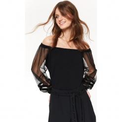 DZIANINOWA BLUZKA Z BUFIASTYMI TIULOWYMI RĘKAWAMI. Czarne bluzki wizytowe marki bonprix, eleganckie. Za 89,99 zł.
