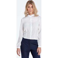 Bluzki damskie: Ecru Elegancka Bluzka Koszulowa z Okrągłym Kołnierzykiem